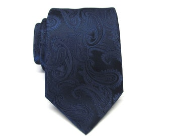 Mens Ties Navy Blue Paisley Mens Wedding Neckties. Groomsmen Ties Silk Necktie with Matching Pocket Square Option