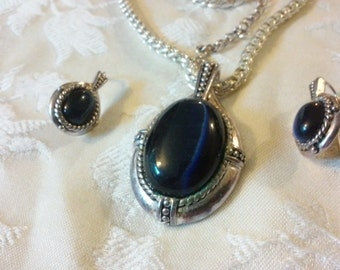Kenneth Cole Blue Glass Cabochon Necklace and Earring Set