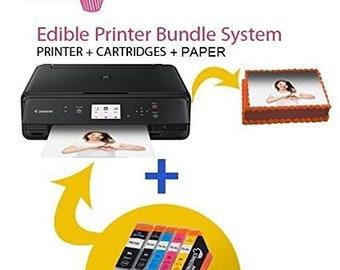 Icinginks Latest Edible Printer Bundle with Edible Cartridges , Cake Printer Canon Pixma TS6020 (Wireless+Scanner) , Edible Image Printer