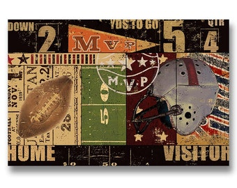 FOOTBALL Canvas Art by Eric Yang; Game Room, Man Cave, Play Room.