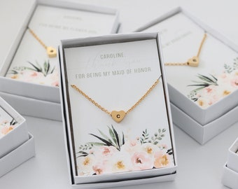 Heart Stamped Letter Necklace - Maid of Honor Bridesmaid Proposal Gift Bridal Party Floral Monogram Necklace  - Boxed Jewelry J-NE06G
