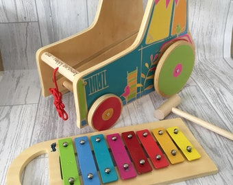 Personalised tractor motor skills trainer with a xylophone - wooden toy - engraved gift - gift for him - gift for her - music gift