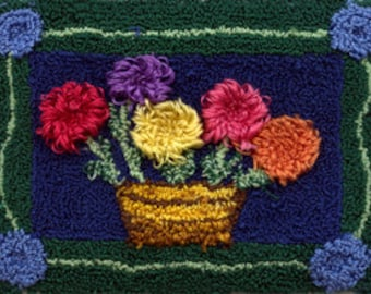 Flower Basket - Miniature Punch Needle Embroidery PATTERN