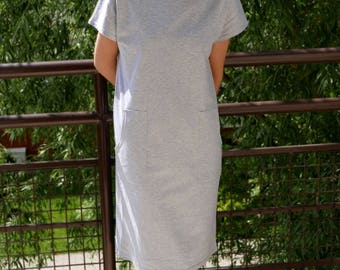 DIANA - 100% cotton tunic & dress with pockets / midi dress / tunic dress / dress with pockets /  summer dress / sisters / grey tunic /