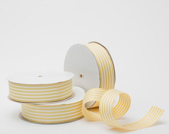 Yellow & White Striped Ribbon - 50 yards