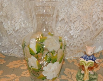 Hand Painted White Roses with Green Leaves Glass Pitcher / Juice Vase container Tole Ware