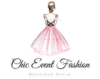 Character Illustrated Chic Event Fashion Premade Logo design
