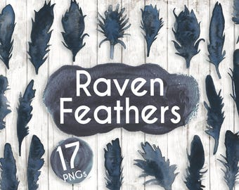 Black Feathers Clipart - Watercolour feathers - Planner Digital Clip Art - invitation clipart - Halloween clipart - Raven Feathers - GA25