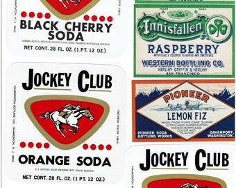 17 1890's to 1950's Soda Bottle Labels  Orange, Lime, Lemo Ginger Ale, ect.