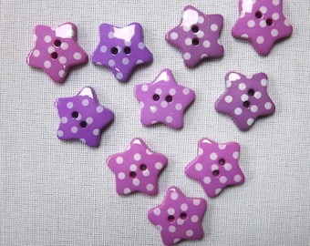 CLEARANCE 9 Purple Dotted Star Buttons