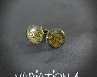 Buttons cheap cufflinks - gear & resin - bronze - man - inspired Victorian steampunk - shirt - loblada - gift