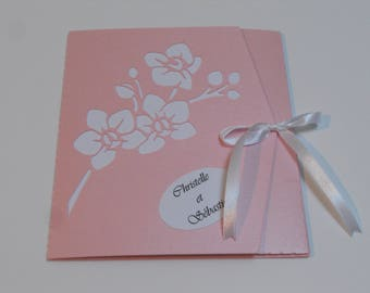 invitation weeding pocket orchid pink white