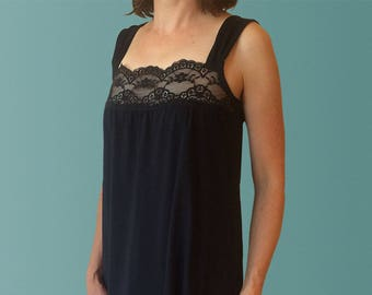 Daydream Organic Cotton Nightgown with Lace Trim in Black.  Elegant Sleepwear made in Australia.