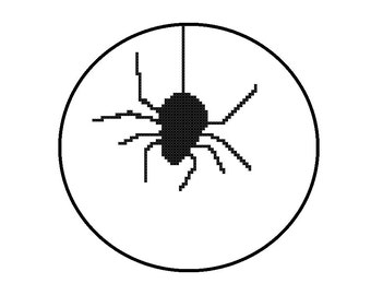 Counted Cross Stitch Pattern PDF - Creepy Spider Silhouette - Instant Download