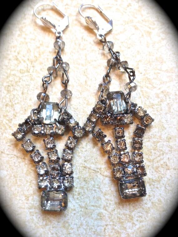 Rhinestone Handmade Earrings-  Vintage Assemblage  Shoe Clip Chandelier Earrings, Great Gatsby Style by www.etsy.com/shop/JNPVintageJewelry
