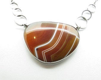 Silver banded Agate necklace (SKU367)
