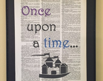 Once upon a time dictionary print; nursery decor; book lover; gifts for readers; kids room