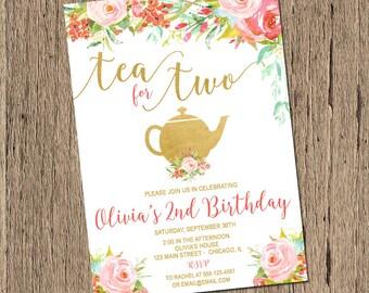 Tea for two birthday invitation, tea party invitation, 2nd birthday invitation, tea for 2, tea for two birthday digital Printable Invitation