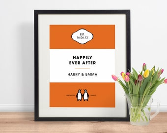 Personalised Penguin Book Cover Print | Personalised Wedding Valentine Anniversary Print Gifts | INSTANT DOWNLOAD 8x10 Printable Digital Art