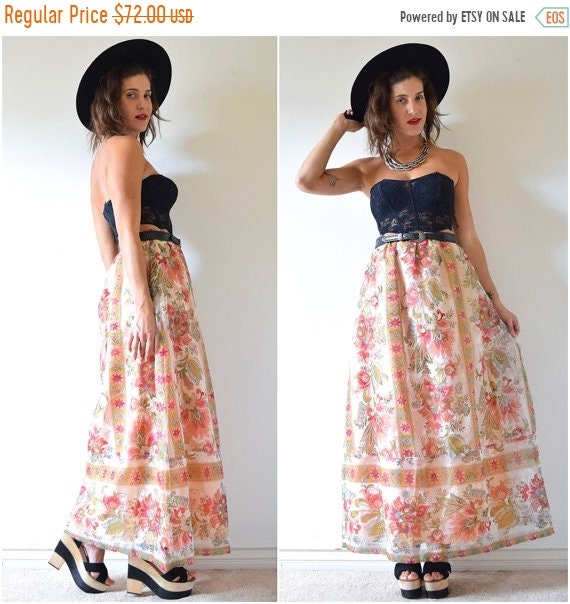 SALE SECTION / 50% off Vintage 60s 70s Lady of the Canyon High Waisted A Line Floral Organza Maxi Skirt (size medium, large)