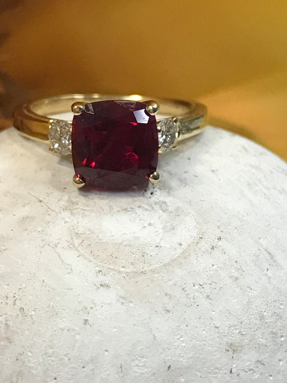 Cushion Cut Ruby Solitaire & Diamond Accents Engagement Wedding Anniversary Promise Ring 2.75ctw Solid 14 K Yellow Gold  #4749 by Etsy