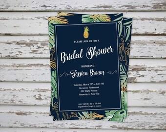 Tropical Bridal Shower Invitation, Tropical Wedding Shower Invitation, Tropical Bridal Shower Invite, Tropical Bridal Shower Invitation