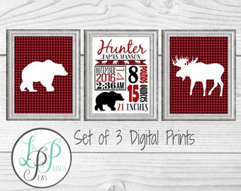 Westcoast Nursery Prints, Lumberjack Nursery, Buffalo Plaid Birth Stats, Rustic Nursery Decor, Lumberjack Baby Gift, Buffalo Plaid Baby