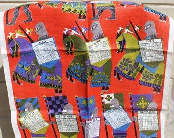 Vintage Linen Tea Towel 1967 Calendar Medieval Knights
