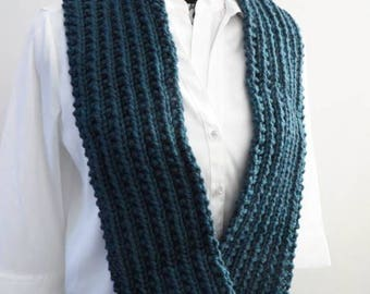 Teal Blue Infinity Scarf, Chunky Knitted Scarf, Hand Knit, Clearance