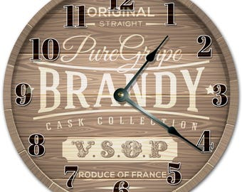 "10.5"" BRANDY KEG Clock - Living Room Clock - Large 10.5"" Wall Clock - Home Décor Clock - 4069"