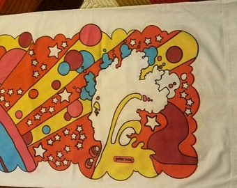 Vintage Rare Peter Max Pillow Cases (2) Vibrant psychedelic art