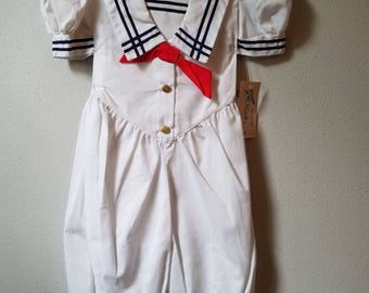 Vintage Girls White Sailor Jumpsuit Romper by Jayne Copeland and C.I. Castro - Multiple Sizes-  New, never worn with tags