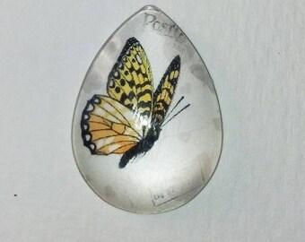 cabochon 18 x 25, orange yellow butterfly, Teardrop shape