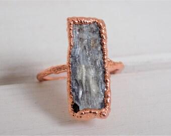 Raw kyanite ring - blue kyanite ring - raw crystal ring - electroformed copper ring - raw stone ring - statement ring - size N size 7 ring