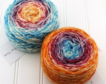 Speckle Gradient Yarn - Plush Fingering, 4 oz / 560 yds - Fire and Ice