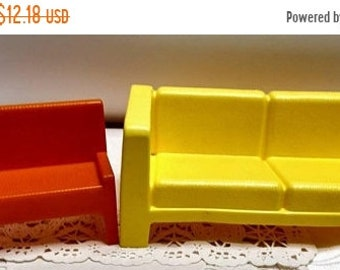 Spring SALE 20% OFF Vintage Mattel 1970s Barbie Furniture Collection~Yellow Sofa and Orange Bench...MOD Barbie Townhouse Furniture