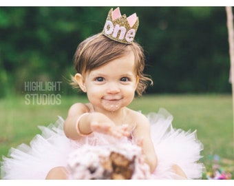 First Birthday Crown of Glitter || 1st Birthday Hat || Baby Girl Smash Cake || Pale Gold + Pink