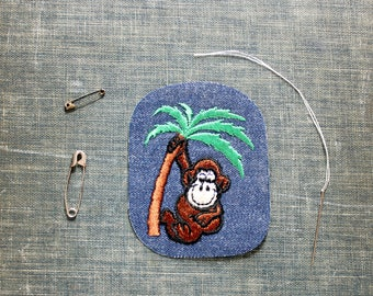 funky monkey patch . 1970s vintage patch . embroidered denim iron on patch, anthropomorphic animal patch