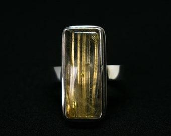 Argent sterling Quartz rutile, Bague anneau de Quartz Rutile, Quartz argent anneau, rutile, Rutile doré, Top qualité Quartz, Quartz bague