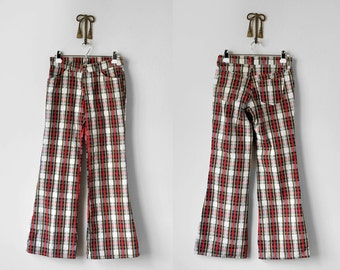 70's plaid pants. 1970 levi's. women's. bell bottoms. xs. red, blue, ivory. 1970's wide leg pants.