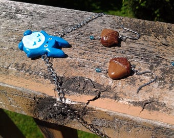Forest spirit necklace/earring set Ghibli-inspired