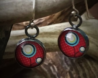 Mod Flowers, Polka Dots Sterling Silver Earrings