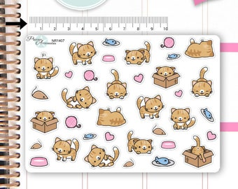 Kawaii Cat Stickers Cute Cats Stickers Cats Stickers Planner Stickers Erin Condren Functional Stickers Decorative Stickers NR1407