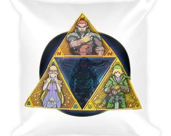 Legend of Zelda Tri Force Square Pillow Link Dark Link Princess Zelda Ganondorf Gaming Pillow