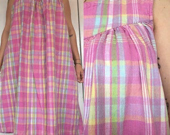 Vintage 70s 80s tent dress plaid cotton pockets pink by Phases