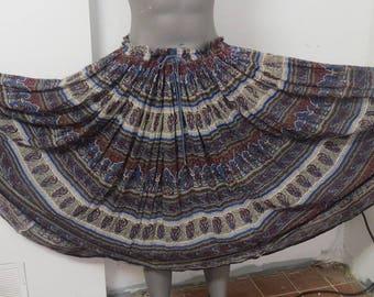 Vintage 1970 Indian Cotton Gauze Hippy skirt  Papillon #110
