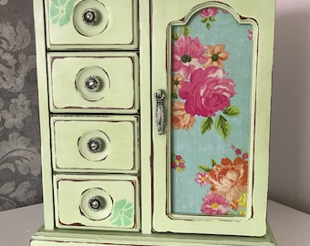 Pretty pale green and floral vintage jewellery box
