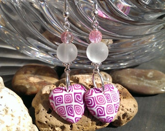 Pink Rose -hearts -earrings