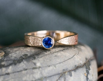 14k Gold Sapphire Leaf Ring | Blue Sapphire | Nature Inspired Ring