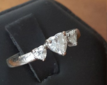 Sterling silver ring with three CZ hearts